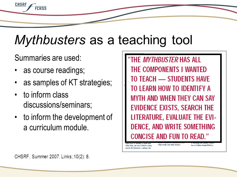 Mythbusters as a teaching tool
