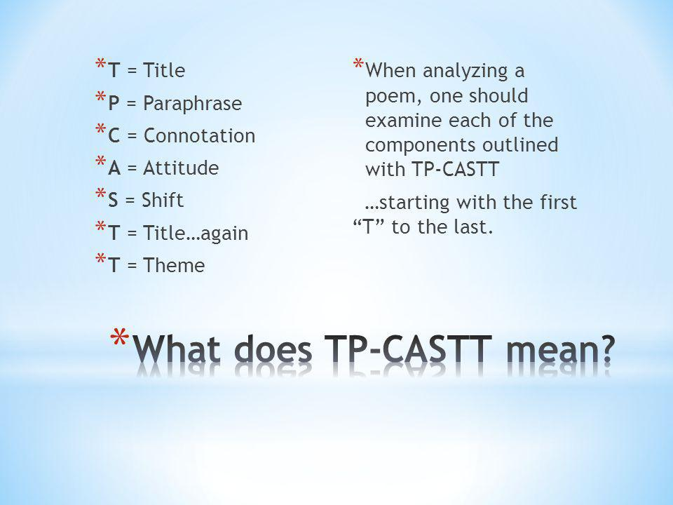 What does TP-CASTT mean