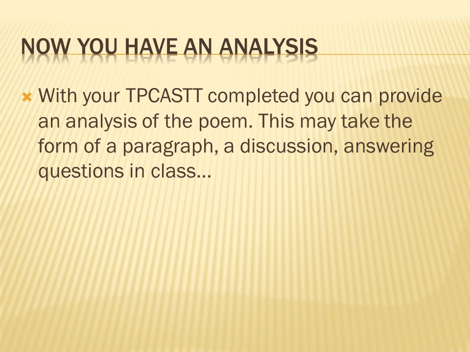Now you have an analysis