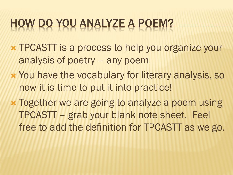 How do You Analyze a Poem