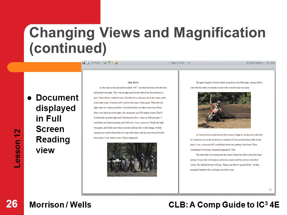 Changing Views and Magnification (continued)