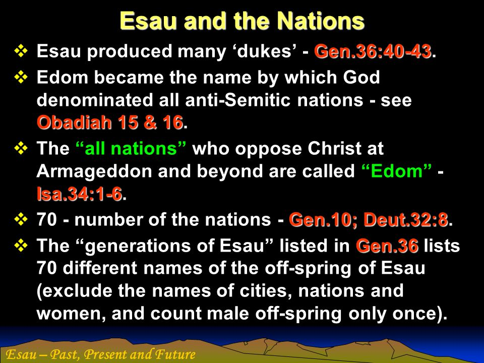 Esau and the Nations Esau produced many 'dukes' - Gen.36:40-43.
