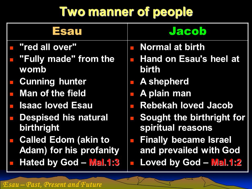 Two manner of people Esau Jacob red all over