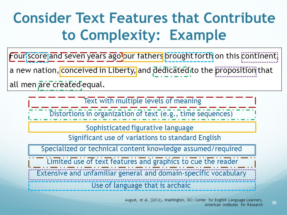 Consider Text Features that Contribute to Complexity: Example