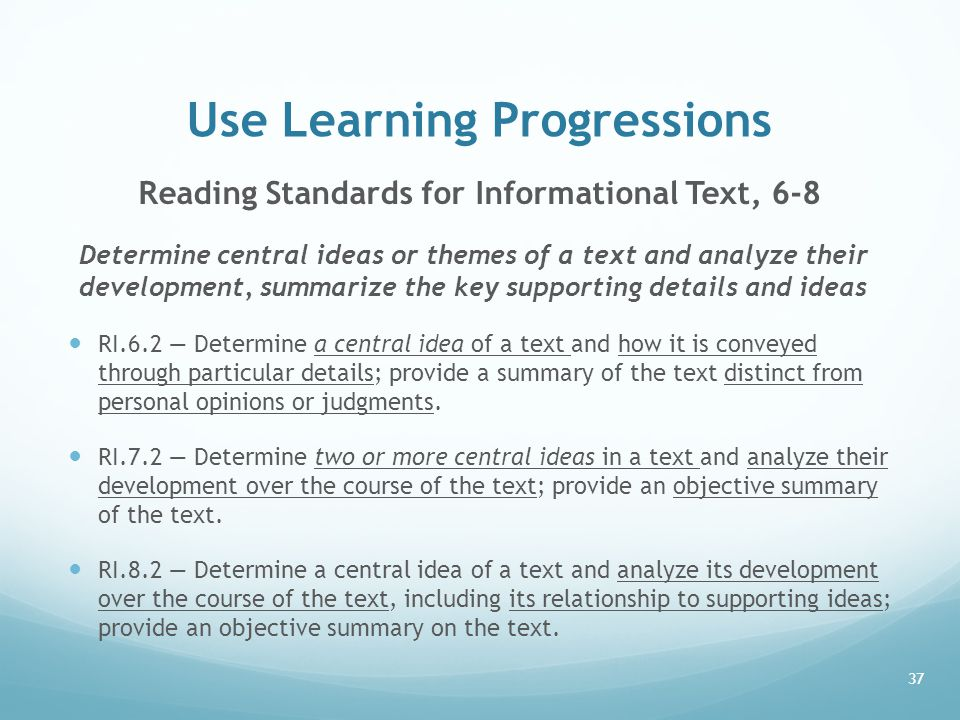 Use Learning Progressions
