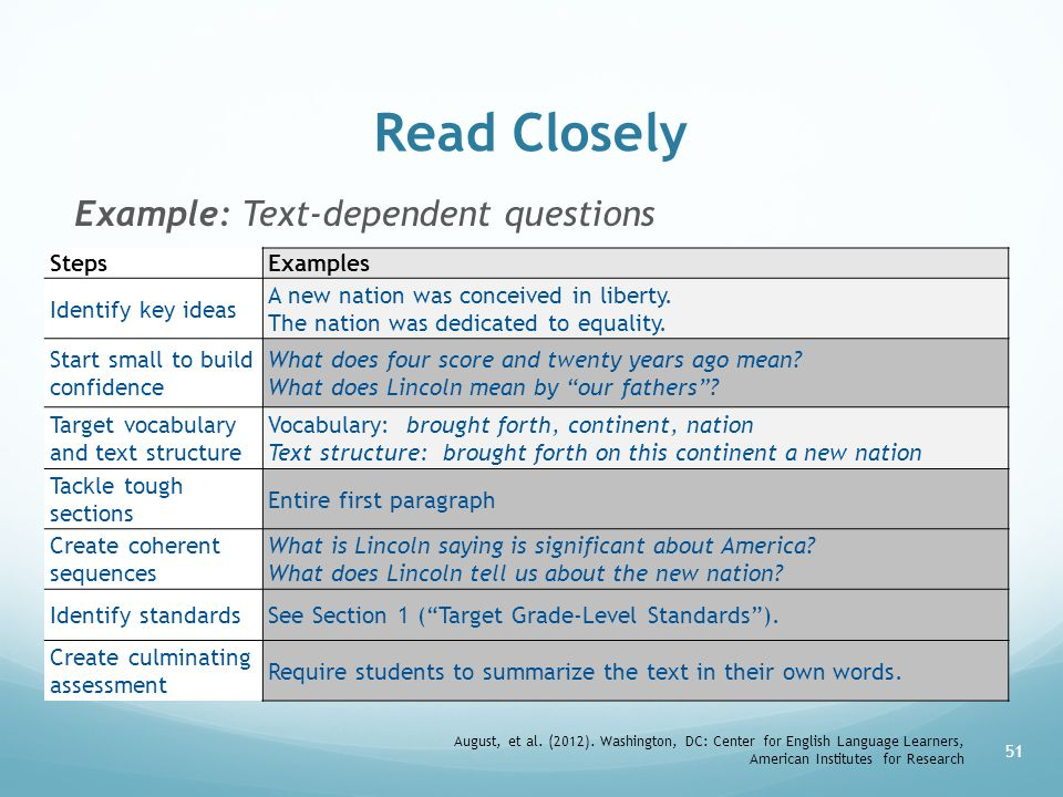 Read Closely Example: Text-dependent questions Steps Examples