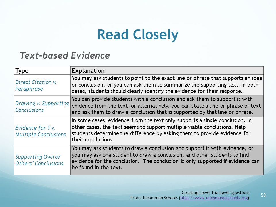 Read Closely Text-based Evidence Type Explanation
