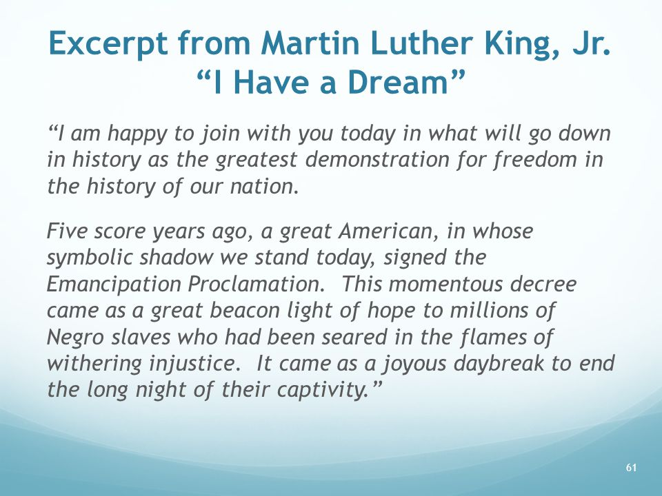 Excerpt from Martin Luther King, Jr. I Have a Dream