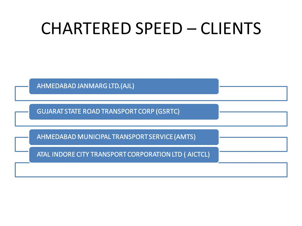CHARTERED SPEED – CLIENTS