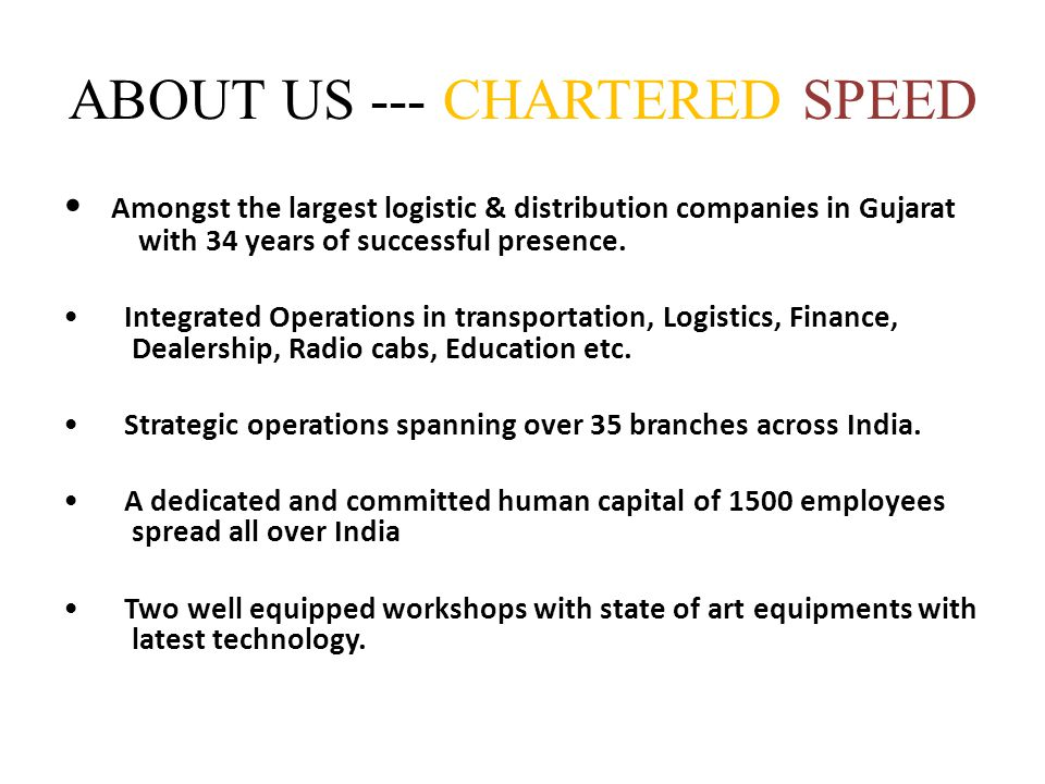 ABOUT US --- CHARTERED SPEED