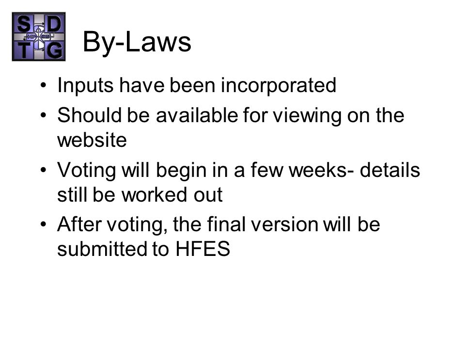 By-Laws Inputs have been incorporated