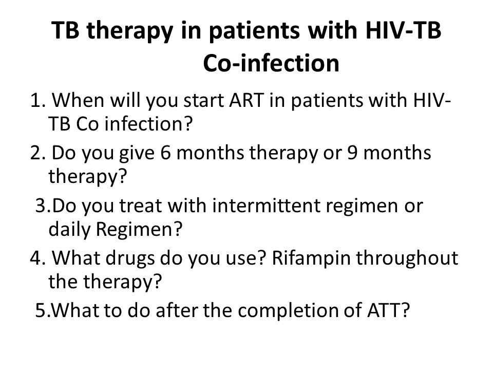TB therapy in patients with HIV-TB Co-infection