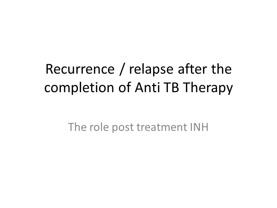 Recurrence / relapse after the completion of Anti TB Therapy