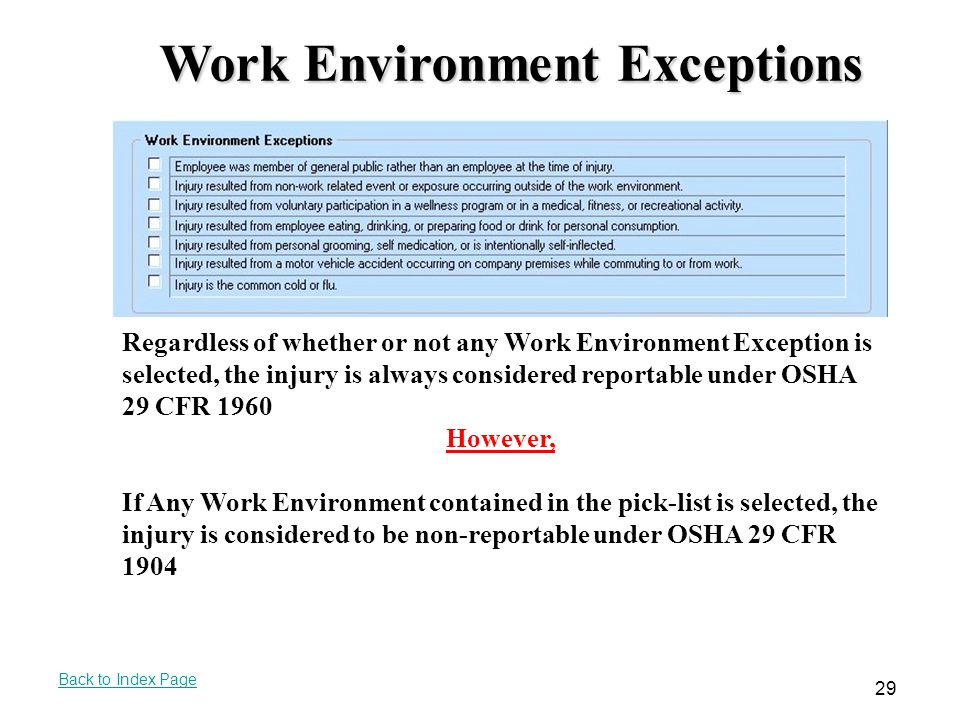Work Environment Exceptions