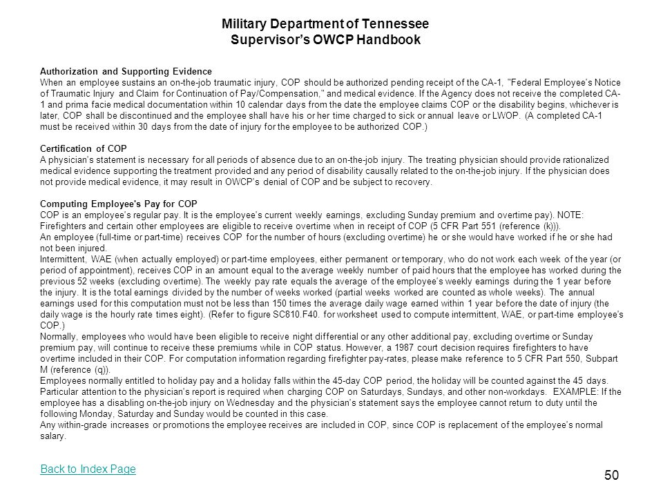 Military Department Of Tennessee Supervisors Owcp Handbook Ppt