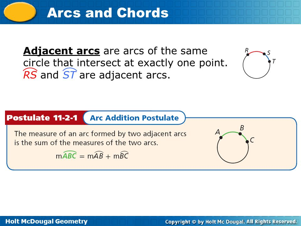 Adjacent arcs are arcs of the same circle that intersect at exactly one point.