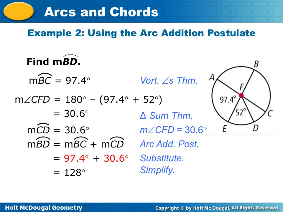 Example 2: Using the Arc Addition Postulate