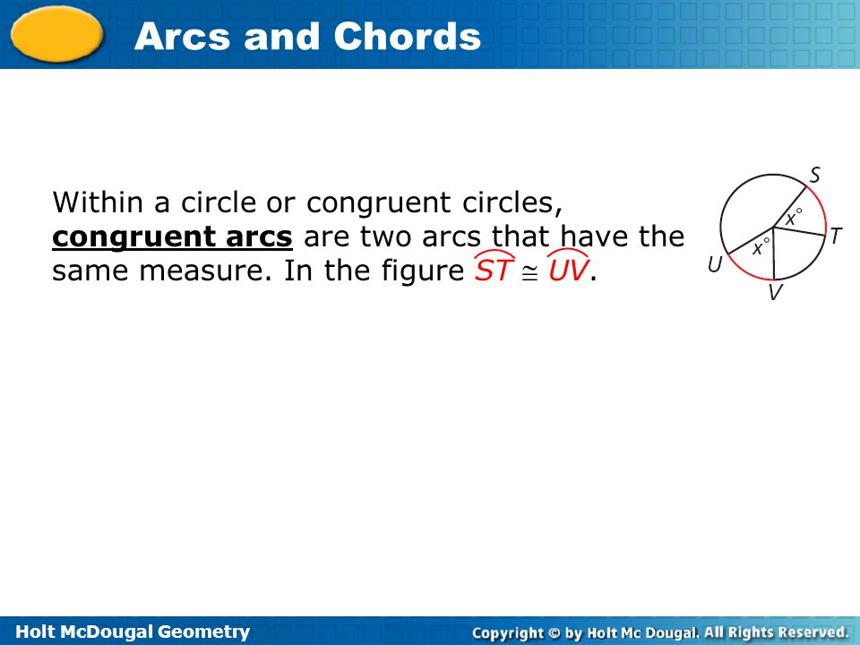 Within a circle or congruent circles, congruent arcs are two arcs that have the same measure.