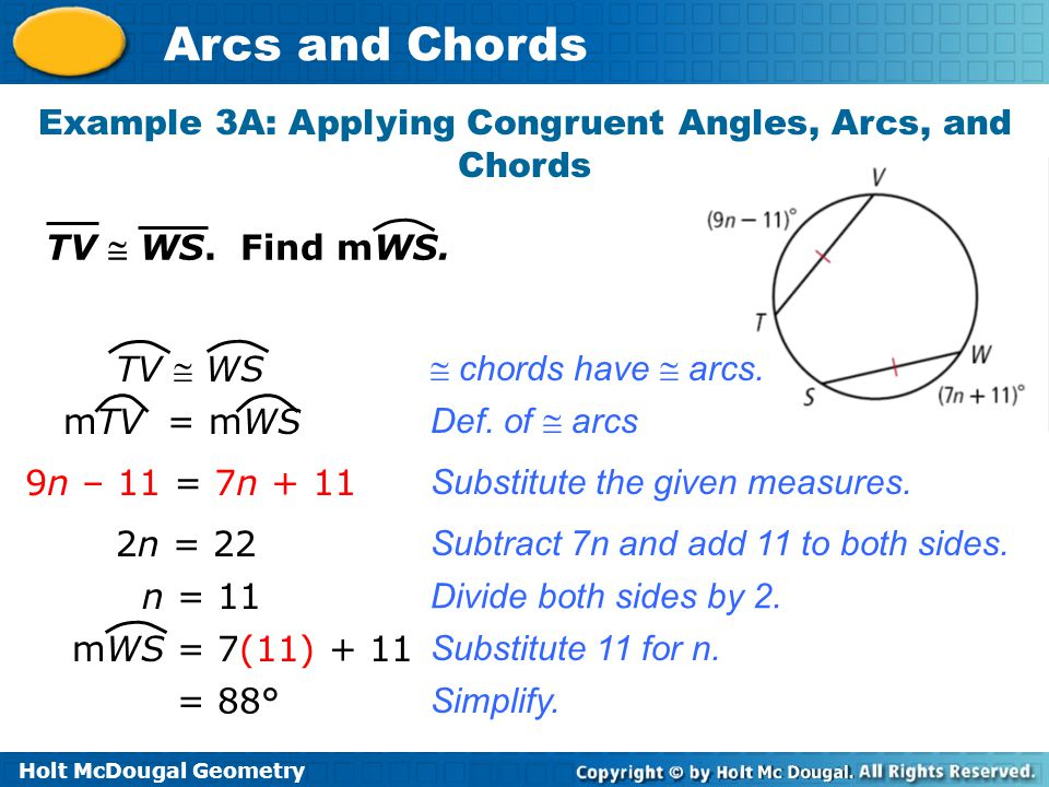 Example 3A: Applying Congruent Angles, Arcs, and Chords