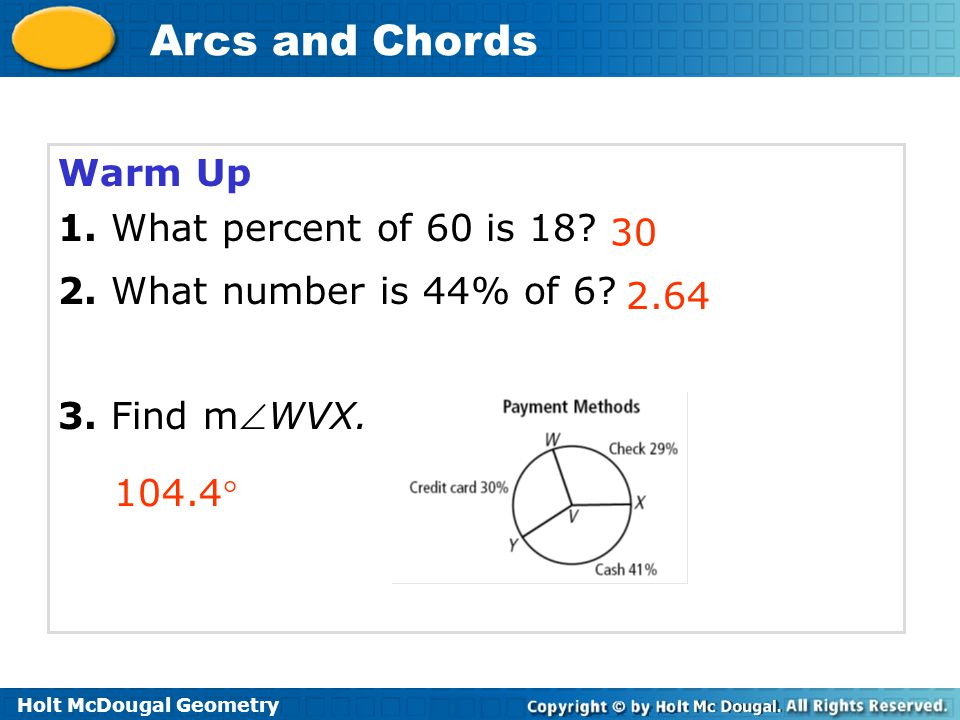 Warm Up 1. What percent of 60 is 18 2. What number is 44% of 6 3. Find mWVX. 30 2.64 104.4