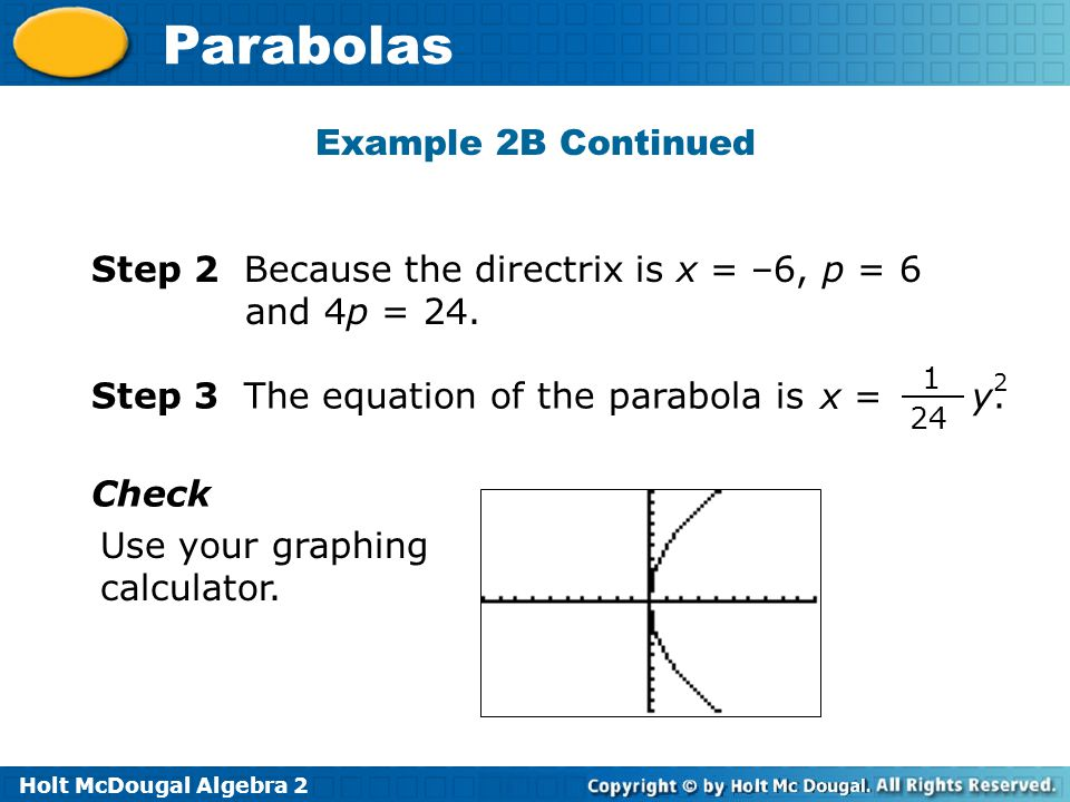 Step 2 Because the directrix is x = –6, p = 6 and 4p = 24.