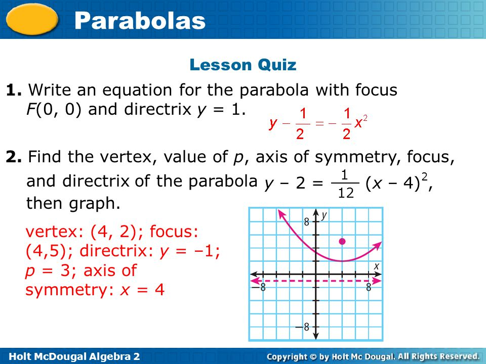 Lesson Quiz 1. Write an equation for the parabola with focus F(0, 0) and directrix y = 1.