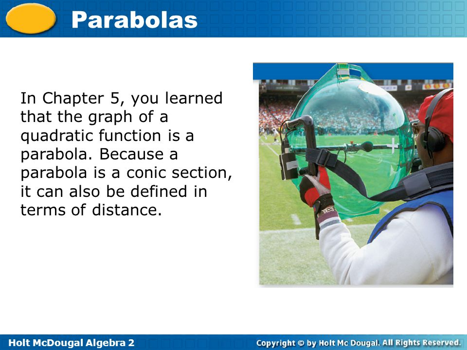 In Chapter 5, you learned that the graph of a quadratic function is a parabola.