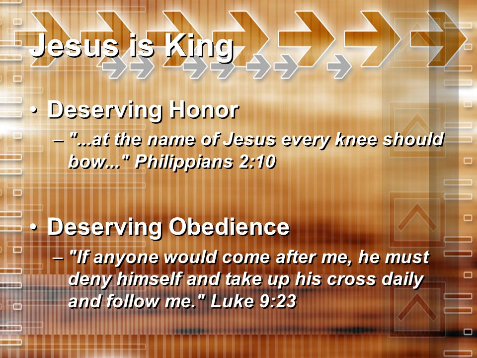 Jesus is King Deserving Honor Deserving Obedience