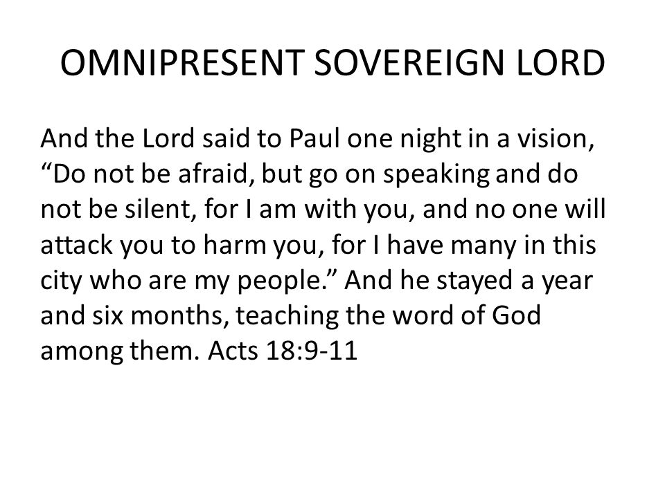 OMNIPRESENT SOVEREIGN LORD