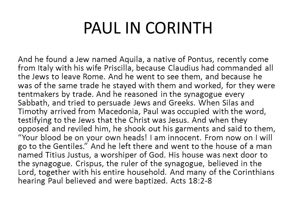 PAUL IN CORINTH