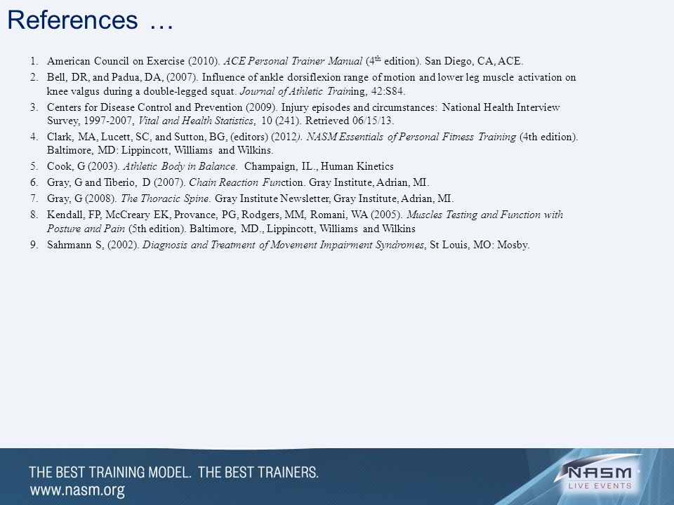 References … American Council on Exercise (2010). ACE Personal Trainer Manual (4th edition). San Diego, CA, ACE.