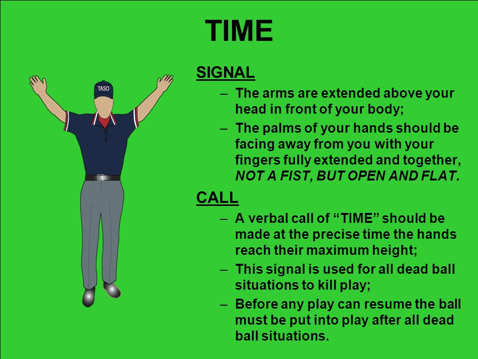 TIME SIGNAL. The arms are extended above your head in front of your body;