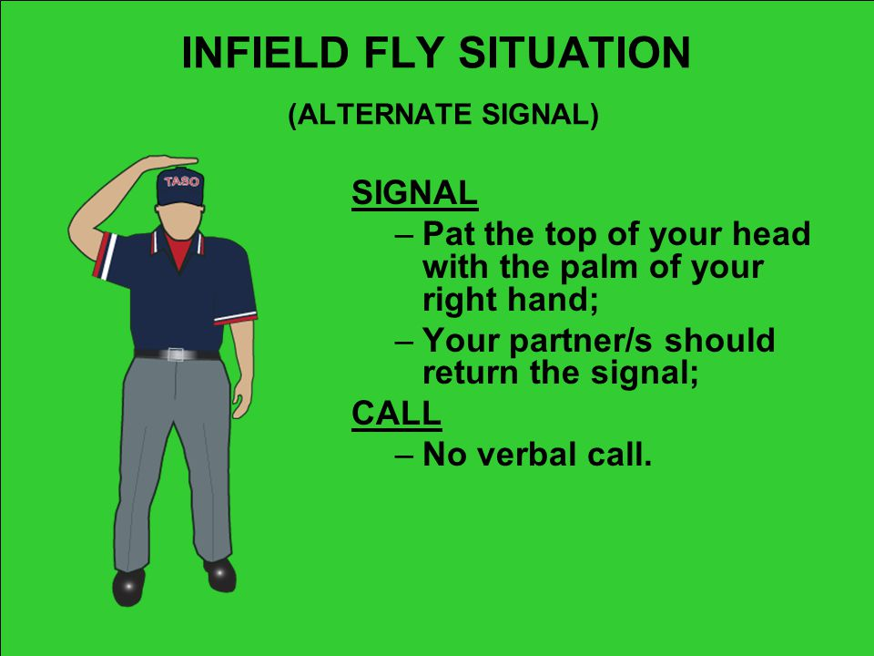INFIELD FLY SITUATION (ALTERNATE SIGNAL)