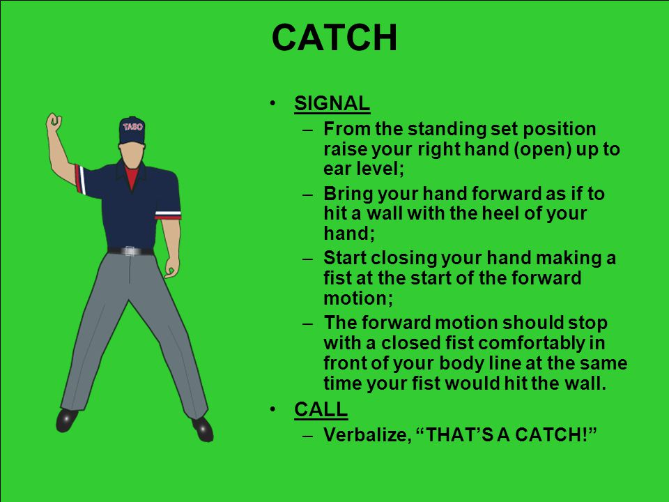 CATCH SIGNAL. From the standing set position raise your right hand (open) up to ear level;