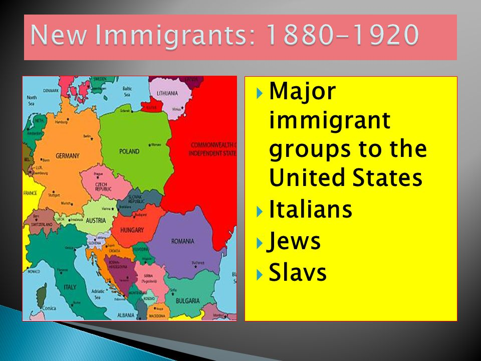 New Immigrants: 1880-1920 Major immigrant groups to the United States