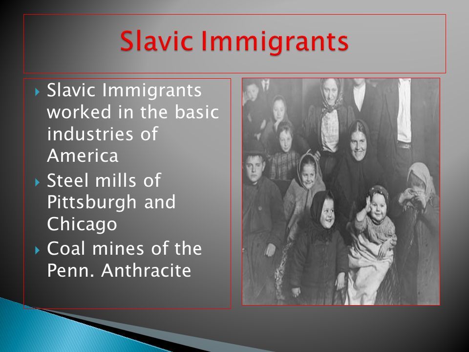 Slavic Immigrants Slavic Immigrants worked in the basic industries of America. Steel mills of Pittsburgh and Chicago.