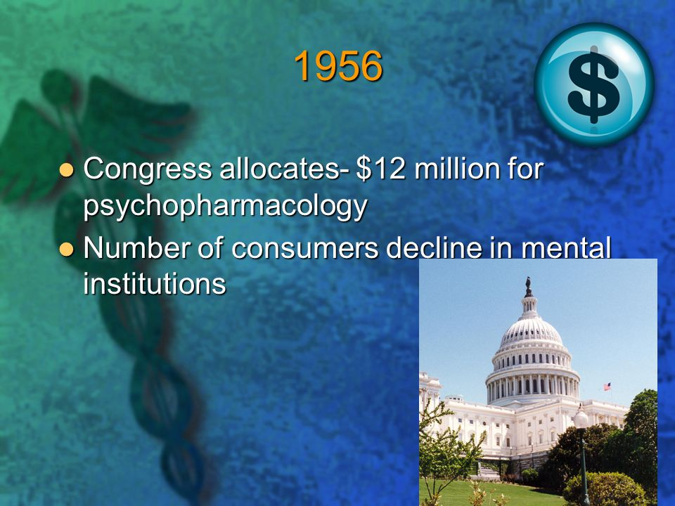 1956 Congress allocates- $12 million for psychopharmacology