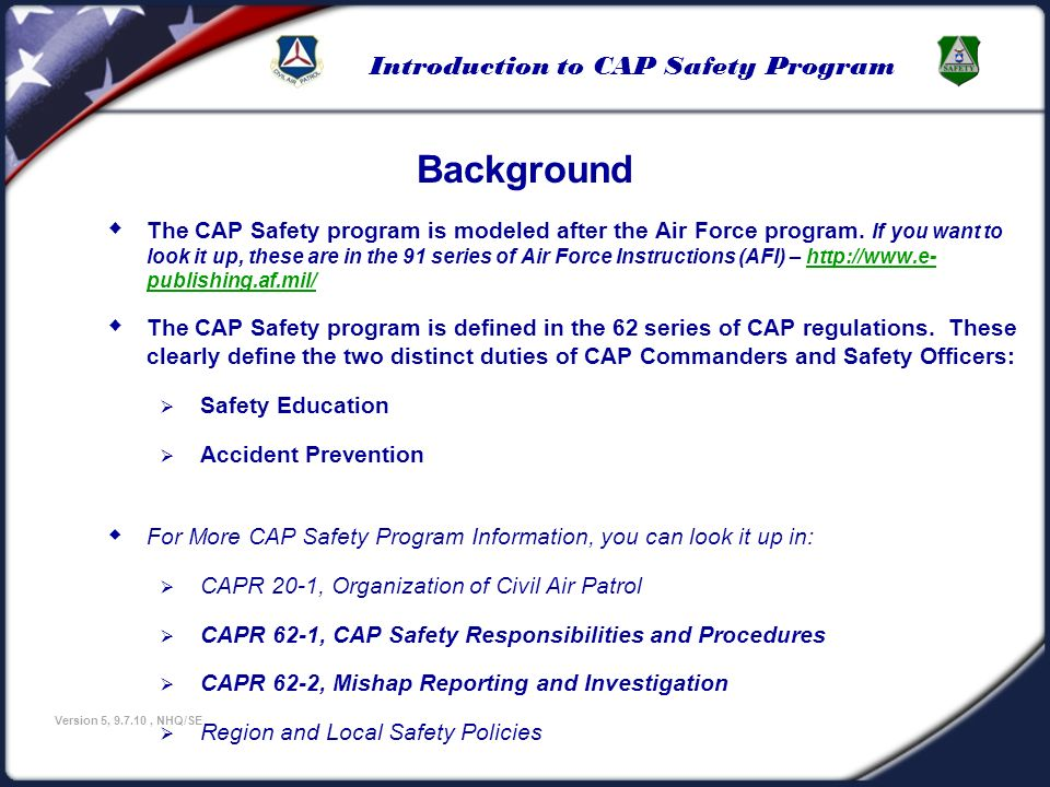 U.S Civil Air Patrol 3/25/2017. Background.