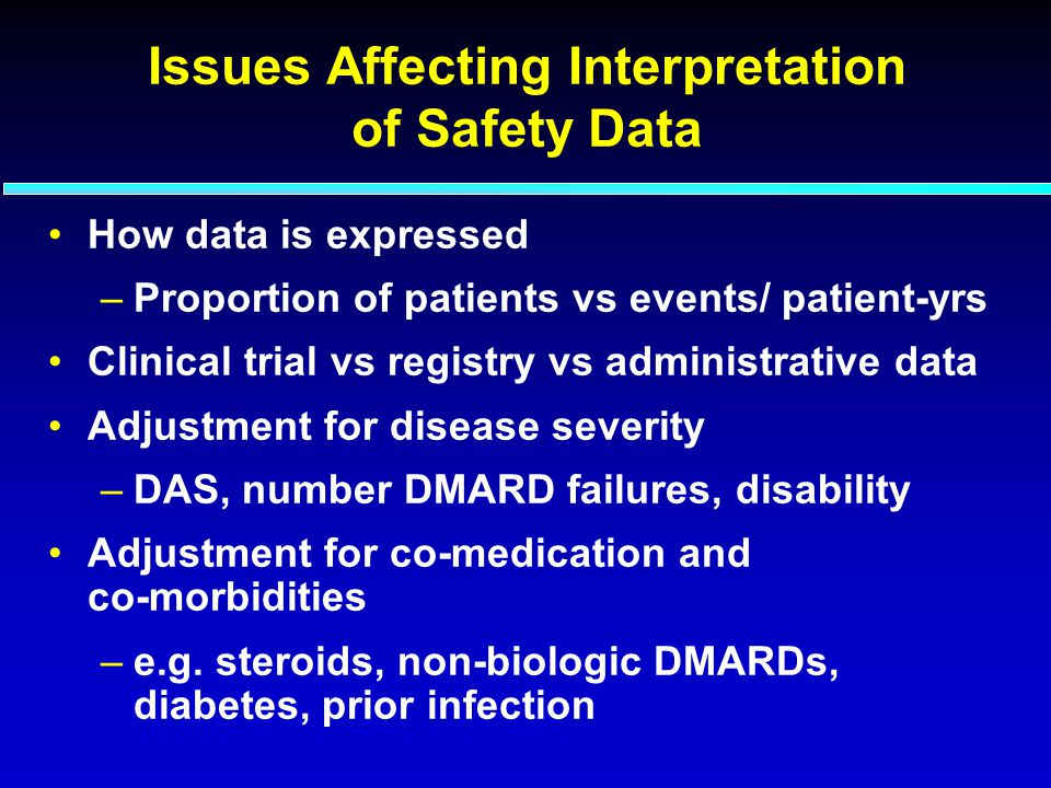 Issues Affecting Interpretation of Safety Data