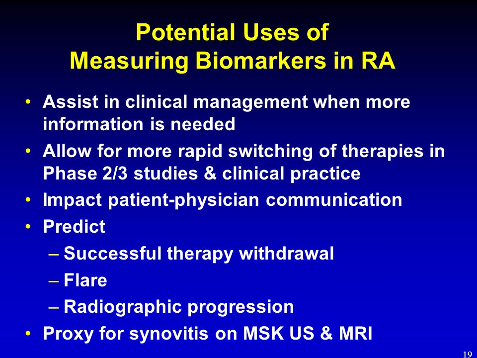Potential Uses of Measuring Biomarkers in RA