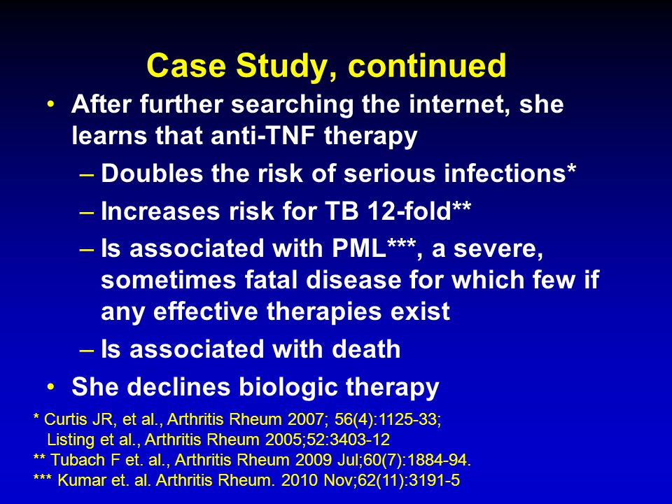 Case Study, continued After further searching the internet, she learns that anti-TNF therapy. Doubles the risk of serious infections*