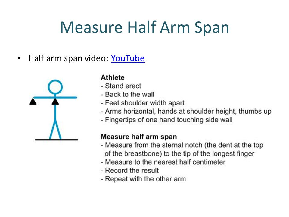 Measure Half Arm Span Half arm span video: YouTube