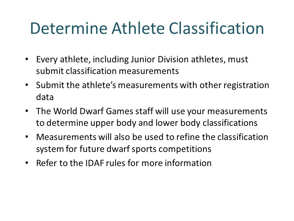 Determine Athlete Classification