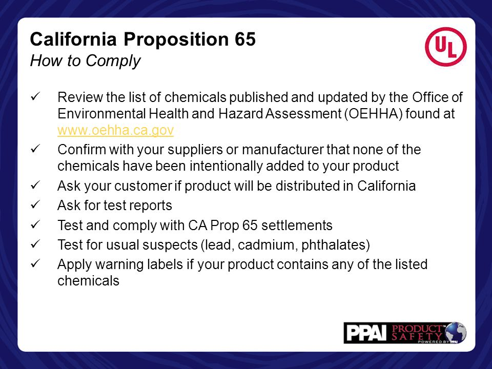 California Proposition 65 How to Comply