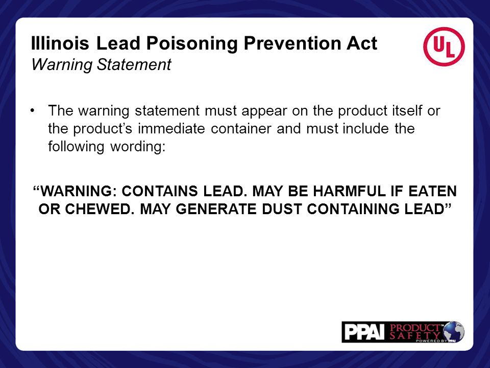 Illinois Lead Poisoning Prevention Act Warning Statement