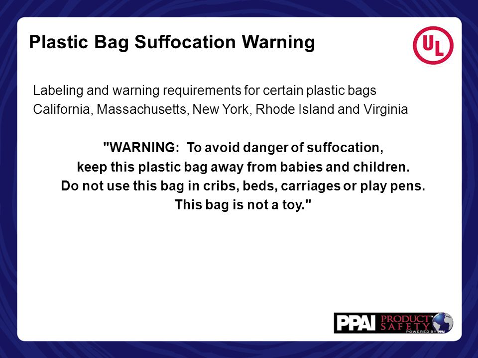Plastic Bag Suffocation Warning
