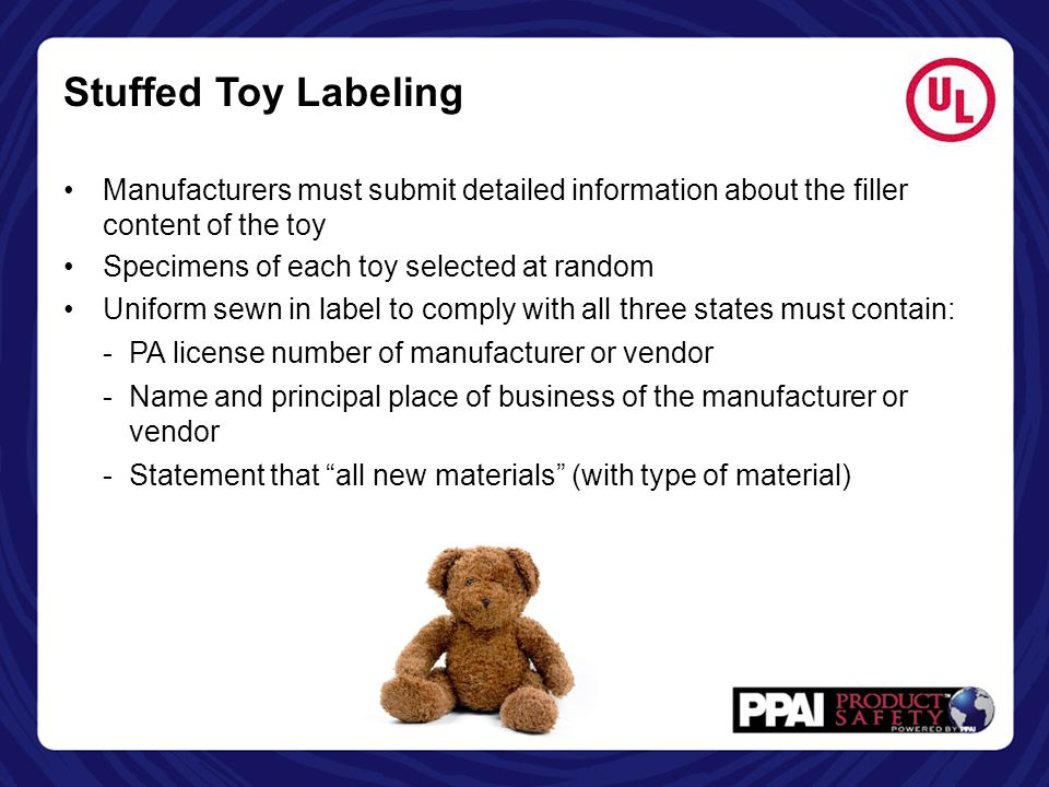 Stuffed Toy Labeling Manufacturers must submit detailed information about the filler content of the toy.