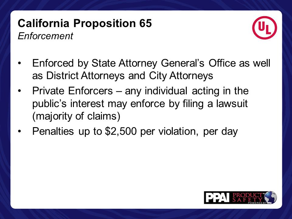 California Proposition 65 Enforcement