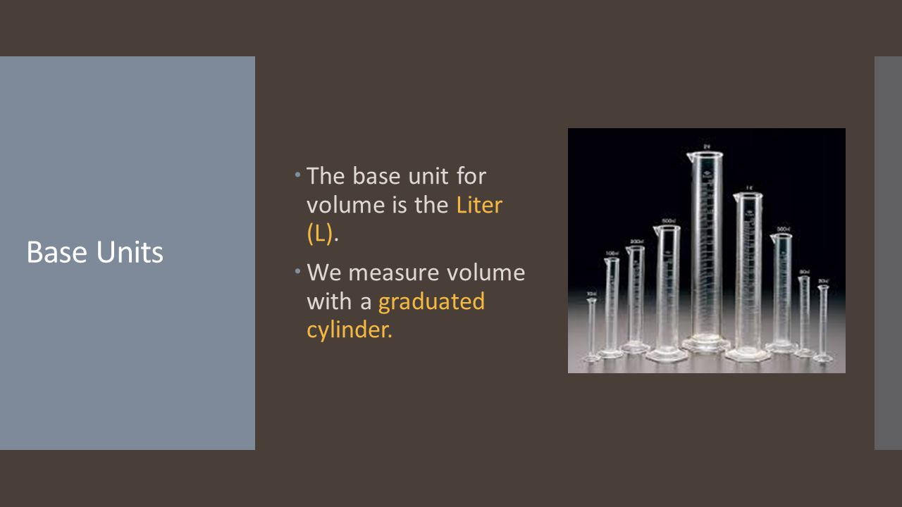 Base Units The base unit for volume is the Liter (L).