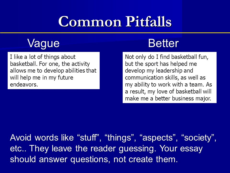 Common Pitfalls Vague Better